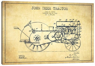 John Deer Vintage Patent Blueprint Canvas Art Print