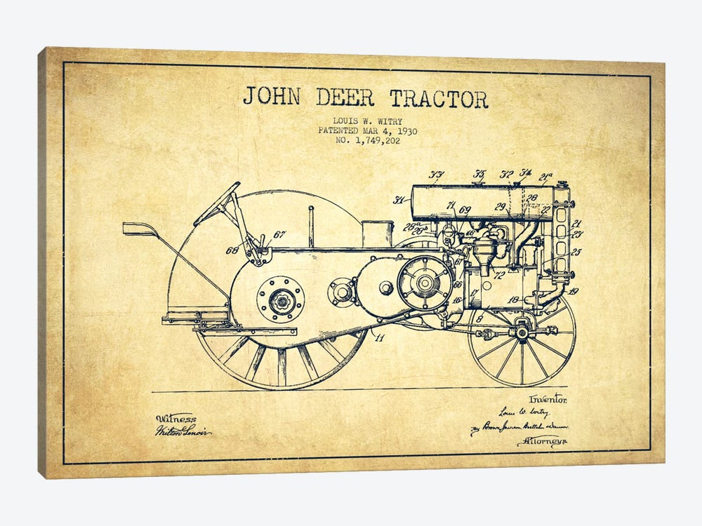 John Deer Vintage Patent Blueprint by Aged Pixel 1-piece Canvas Art Print