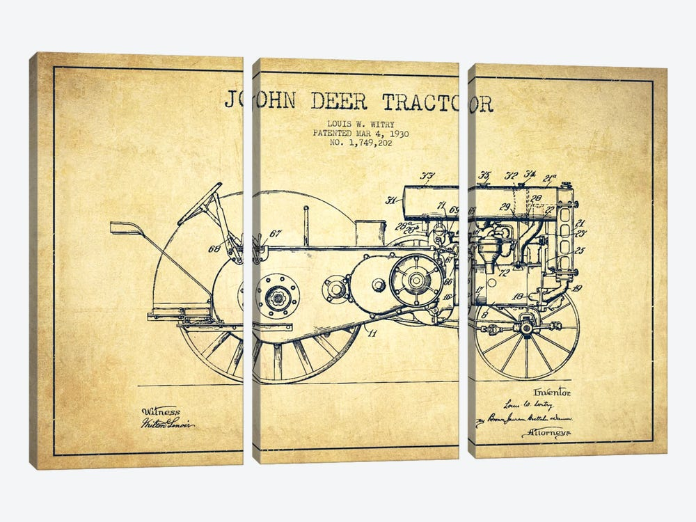 John Deer Vintage Patent Blueprint by Aged Pixel 3-piece Canvas Art Print