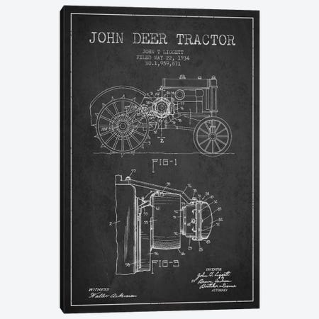 John Deer 4 Charcoal Patent Blueprint Canvas Print #ADP654} by Aged Pixel Art Print