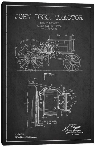 John Deer 4 Charcoal Patent Blueprint Canvas Art Print