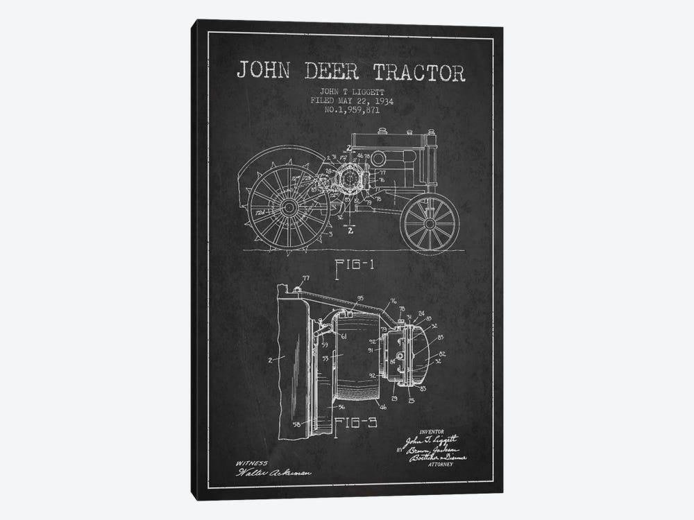 John Deer 4 Charcoal Patent Blueprint by Aged Pixel 1-piece Canvas Wall Art