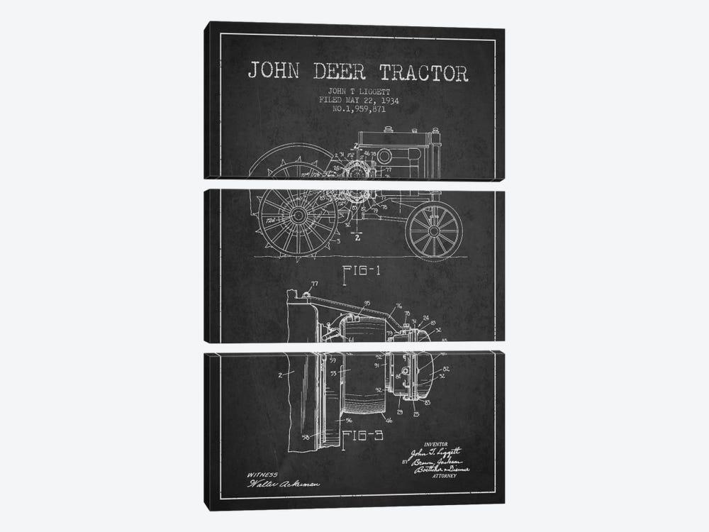 John Deer 4 Charcoal Patent Blueprint by Aged Pixel 3-piece Canvas Art