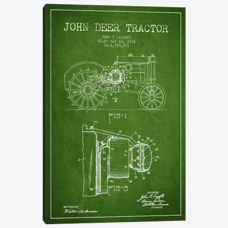 John Deer Green Patent Blueprint Canvas Print #ADP655} by Aged Pixel Canvas Print
