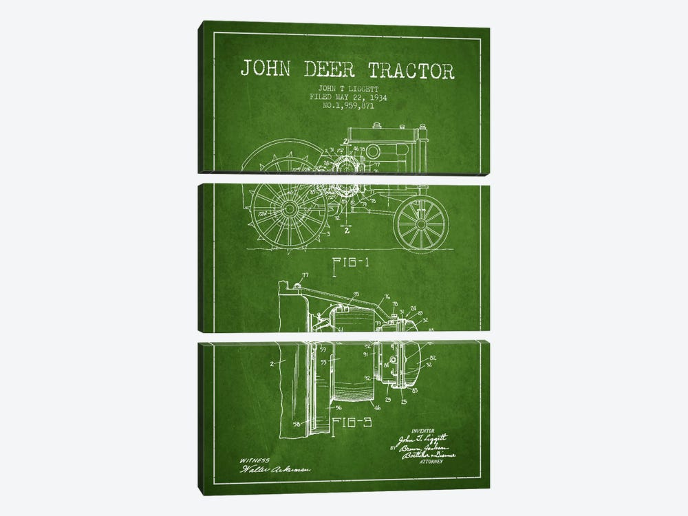 John Deer Green Patent Blueprint 3-piece Canvas Print