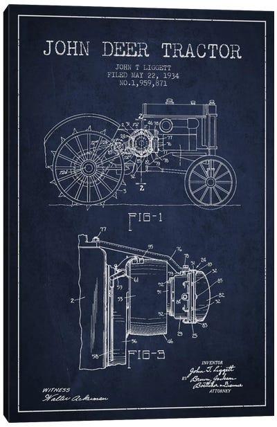 John Deer 4 Navy Blue Patent Blueprint Canvas Art Print
