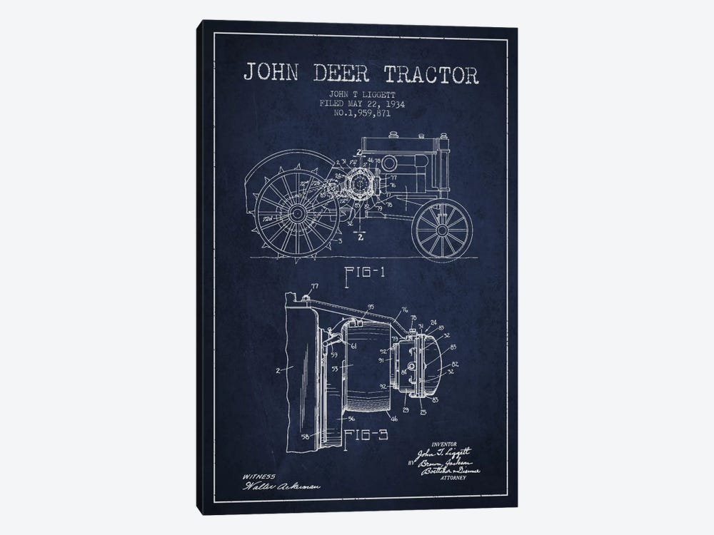 John Deer 4 Navy Blue Patent Blueprint by Aged Pixel 1-piece Canvas Art