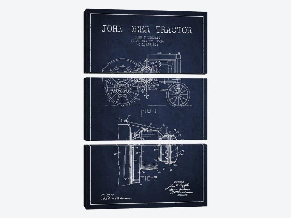 John Deer 4 Navy Blue Patent Blueprint by Aged Pixel 3-piece Canvas Art