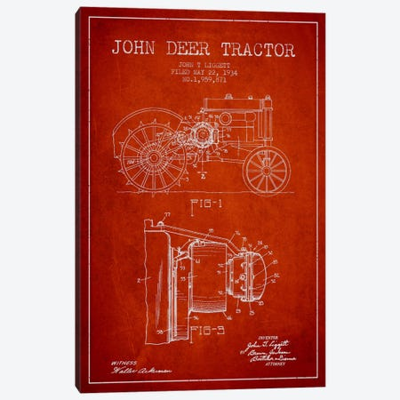 John Deer Red Patent Blueprint Canvas Print #ADP657} by Aged Pixel Canvas Print