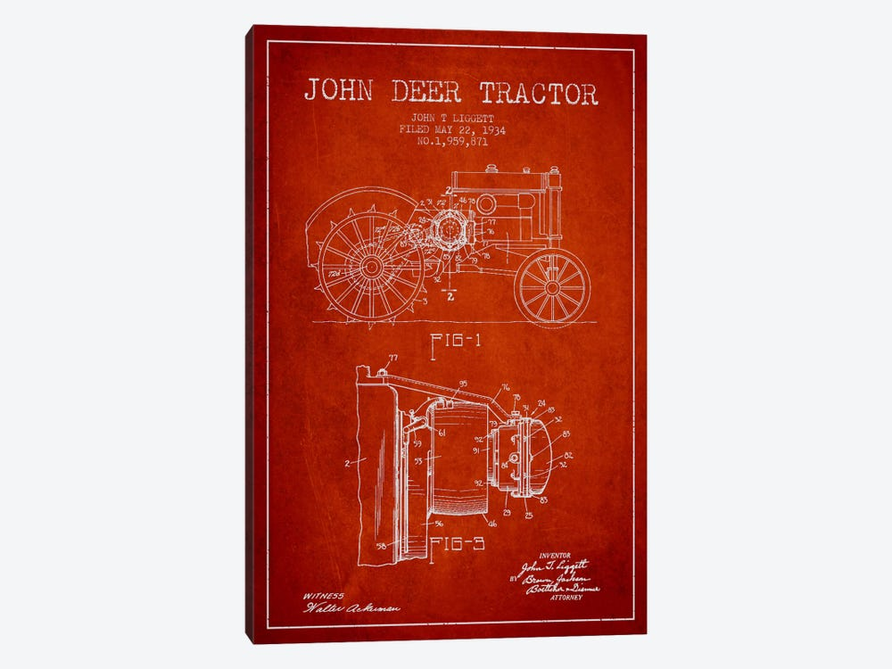 John Deer Red Patent Blueprint by Aged Pixel 1-piece Canvas Art Print