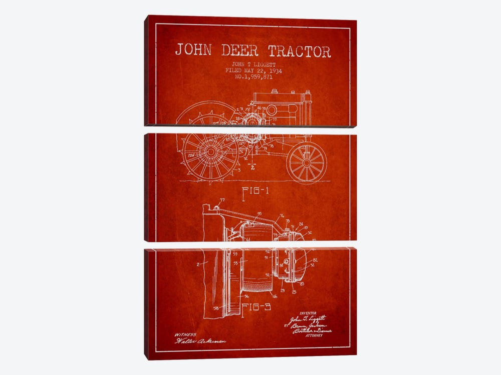 John Deer Red Patent Blueprint by Aged Pixel 3-piece Canvas Print