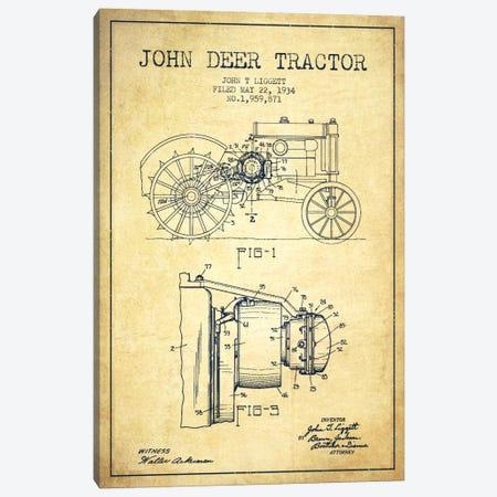 John Deer Vintage Patent Blueprint Canvas Print #ADP658} by Aged Pixel Canvas Artwork