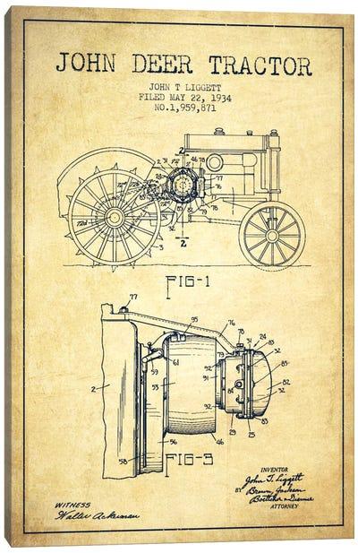 John Deer Vintage Patent Blueprint Canvas Print #ADP658