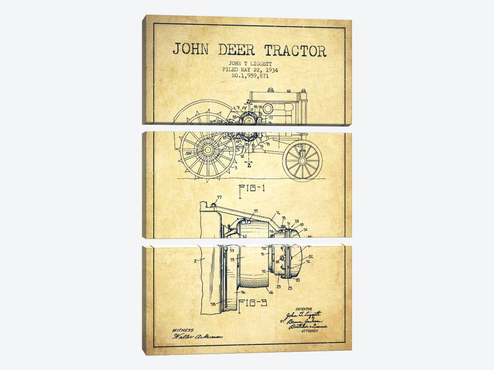 John Deer Vintage Patent Blueprint by Aged Pixel 3-piece Canvas Wall Art