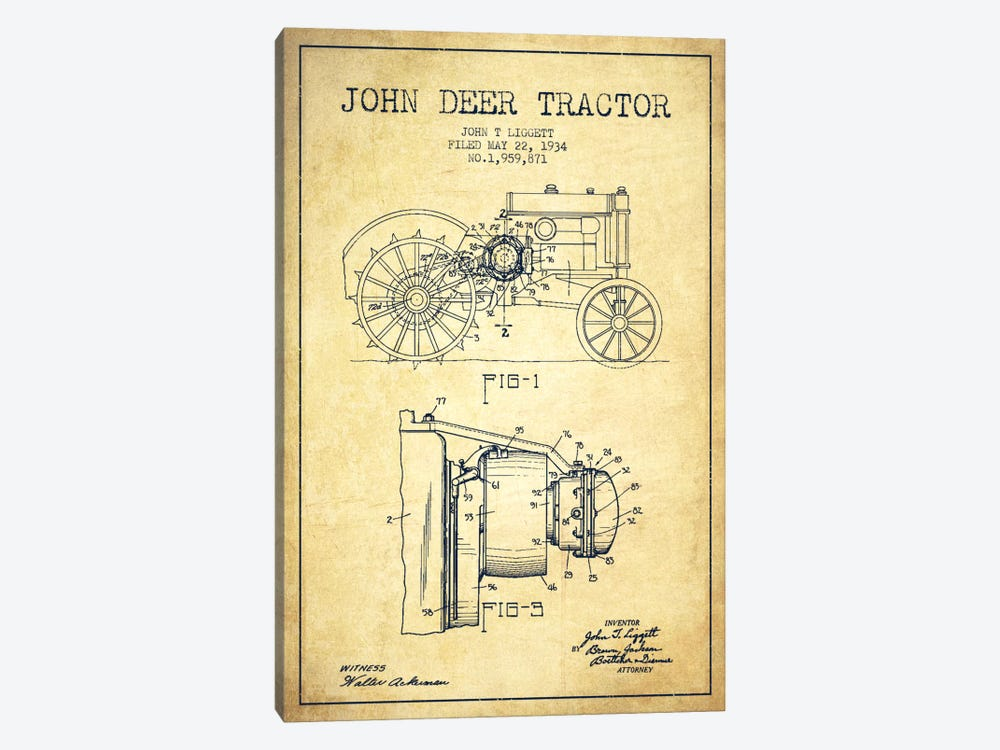 John Deer Vintage Patent Blueprint 1-piece Canvas Art
