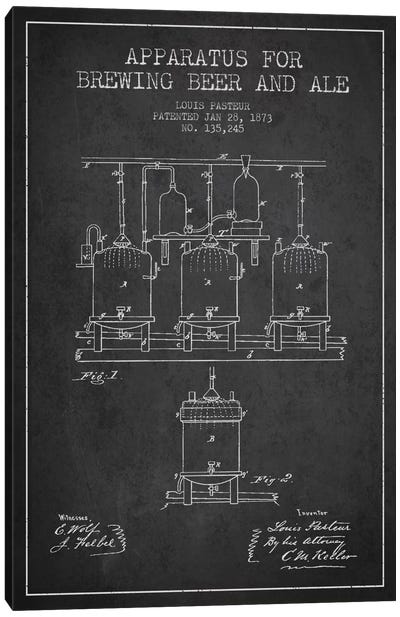 Ale Apparatus Charcoal Patent Blueprint Canvas Art Print