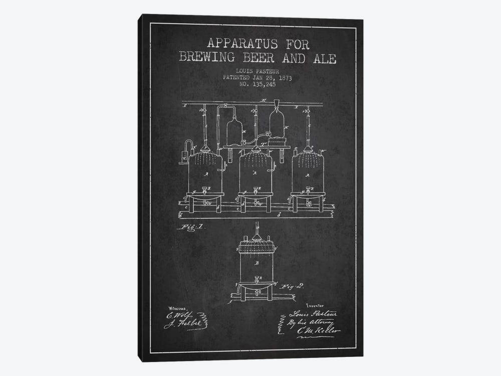 Ale Apparatus Charcoal Patent Blueprint by Aged Pixel 1-piece Canvas Art Print