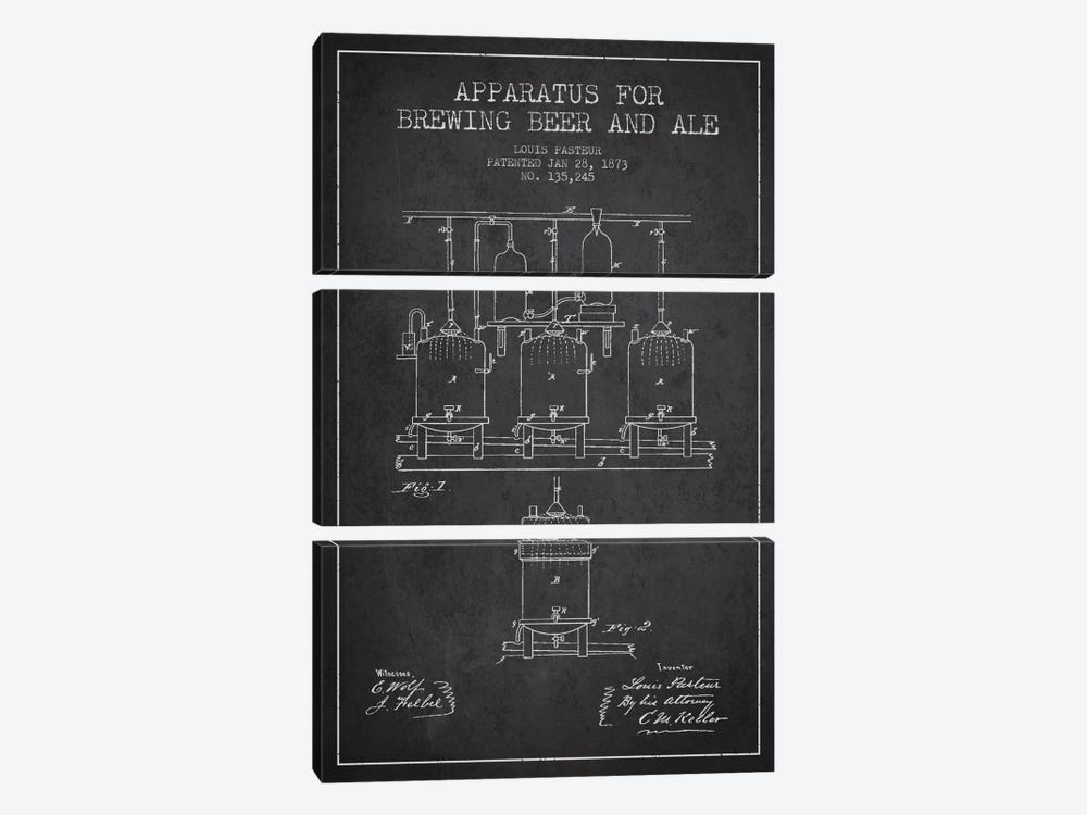 Ale Apparatus Charcoal Patent Blueprint by Aged Pixel 3-piece Art Print