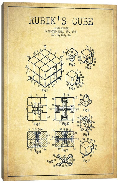 Rubik Vintage Patent Blueprint Canvas Art Print