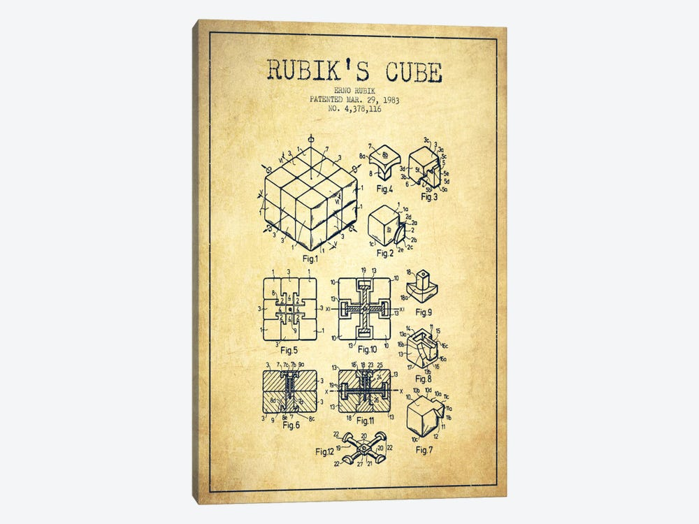 Rubik Vintage Patent Blueprint by Aged Pixel 1-piece Canvas Art