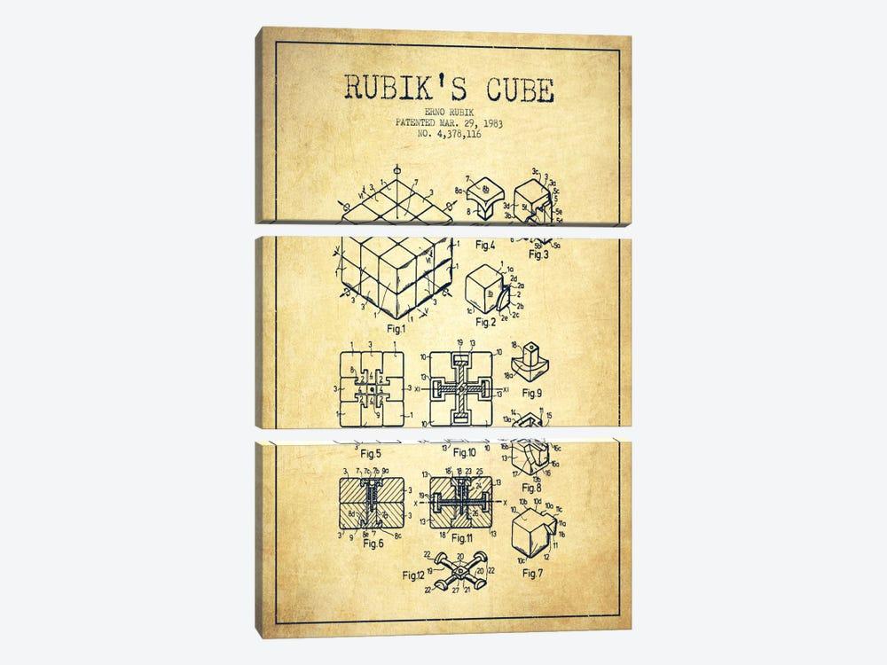 Rubik Vintage Patent Blueprint by Aged Pixel 3-piece Canvas Art