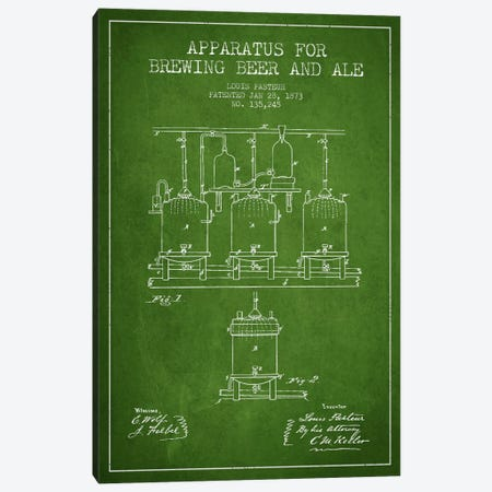 Ale Apparatus Green Patent Blueprint Canvas Print #ADP660} by Aged Pixel Canvas Art Print