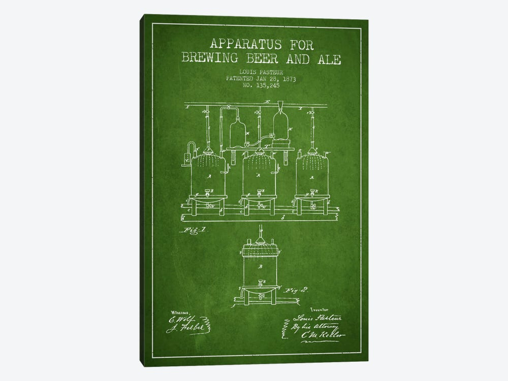 Ale Apparatus Green Patent Blueprint by Aged Pixel 1-piece Canvas Print