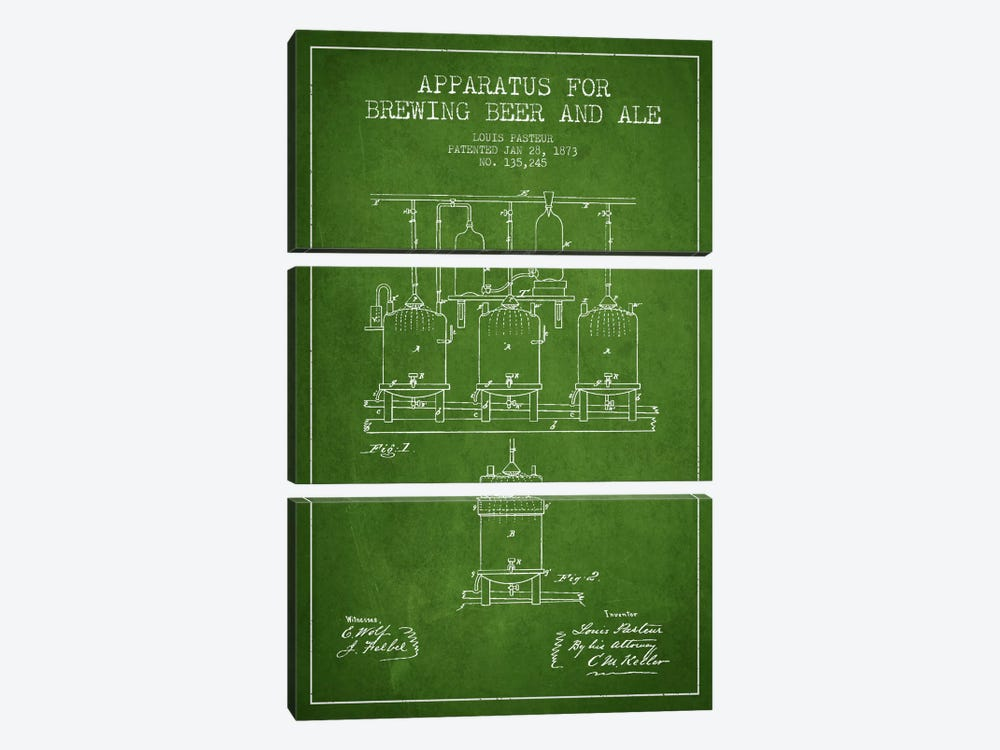 Ale Apparatus Green Patent Blueprint by Aged Pixel 3-piece Art Print