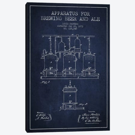 Ale Apparatus Navy Blue Patent Blueprint Canvas Print #ADP661} by Aged Pixel Canvas Print