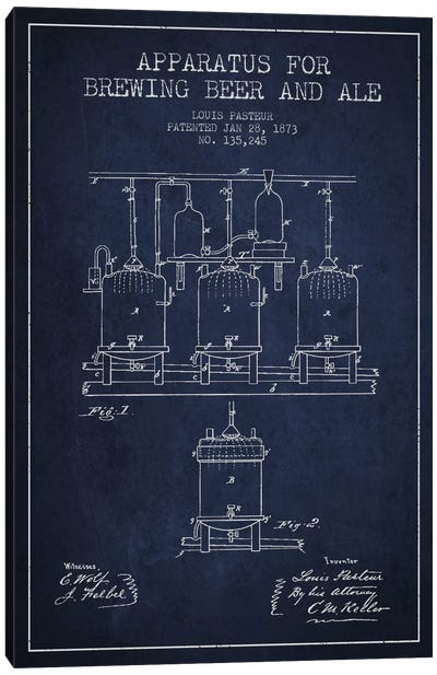 Ale Apparatus Navy Blue Patent Blueprint Canvas Art Print