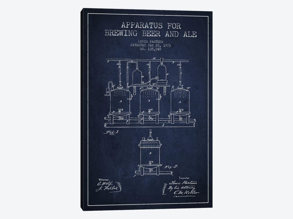 Ale Apparatus Navy Blue Patent Blueprint by Aged Pixel 1-piece Canvas Wall Art
