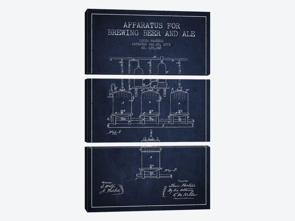 Ale Apparatus Navy Blue Patent Blueprint by Aged Pixel 3-piece Canvas Art