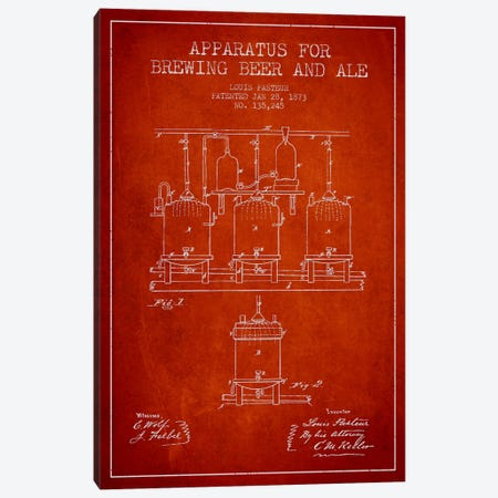 Ale Apparatus Red Patent Blueprint Canvas Print #ADP662} by Aged Pixel Canvas Print