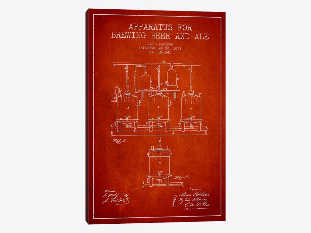 Ale Apparatus Red Patent Blueprint by Aged Pixel 1-piece Canvas Art Print
