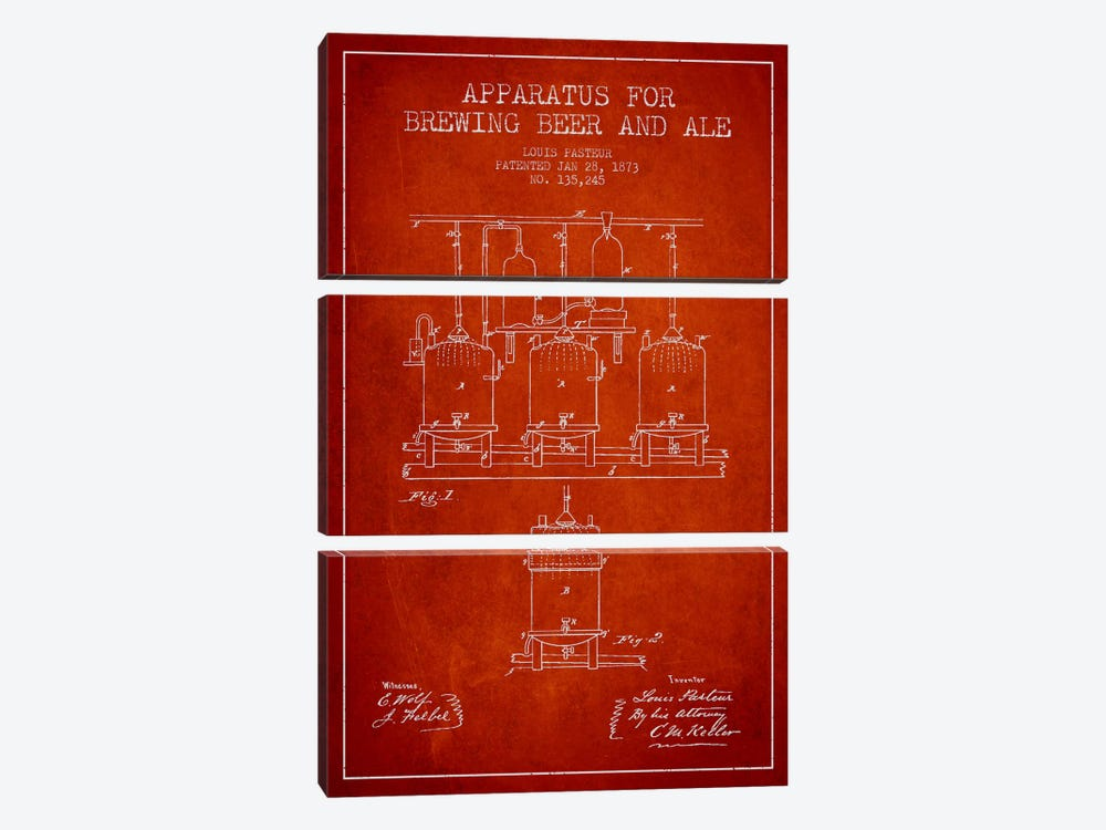 Ale Apparatus Red Patent Blueprint by Aged Pixel 3-piece Canvas Print