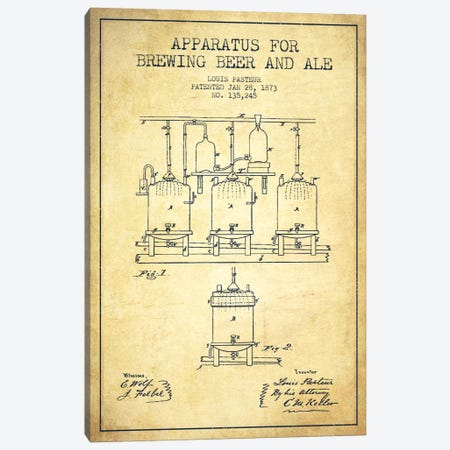Ale Apparatus Vintage Patent Blueprint Canvas Print #ADP663} by Aged Pixel Canvas Print