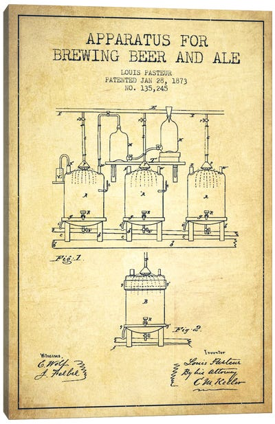 Ale Apparatus Vintage Patent Blueprint Canvas Art Print