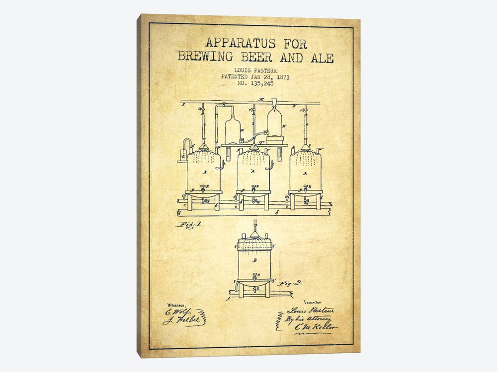 Ale Apparatus Vintage Patent Blueprint by Aged Pixel 1-piece Canvas Art