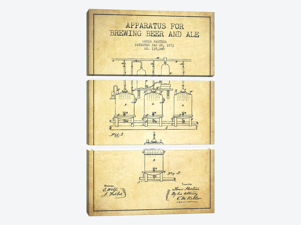 Ale Apparatus Vintage Patent Blueprint by Aged Pixel 3-piece Canvas Artwork