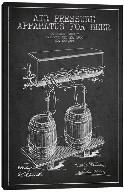 Beer Apparatus Charcoal Patent Blueprint Canvas Art Print