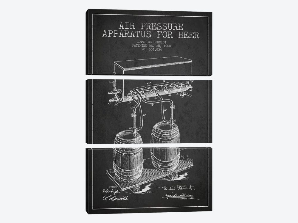Beer Apparatus Charcoal Patent Blueprint by Aged Pixel 3-piece Canvas Print