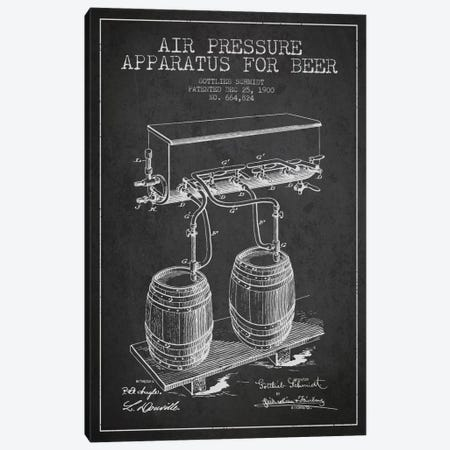 Beer Apparatus Charcoal Patent Blueprint 3-Piece Canvas #ADP664} by Aged Pixel Canvas Wall Art