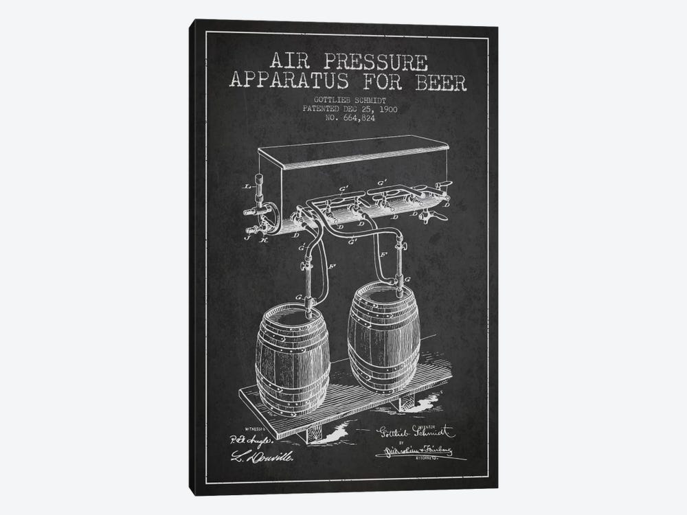 Beer Apparatus Charcoal Patent Blueprint by Aged Pixel 1-piece Canvas Print