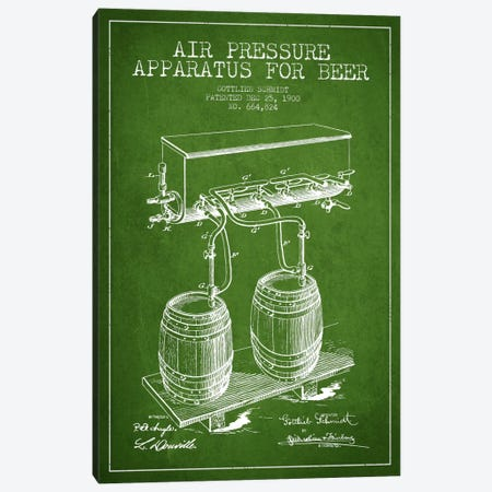 Beer Apparatus Green Patent Blueprint Canvas Print #ADP665} by Aged Pixel Canvas Art