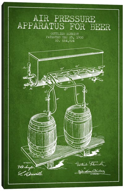 Beer Apparatus Green Patent Blueprint Canvas Art Print