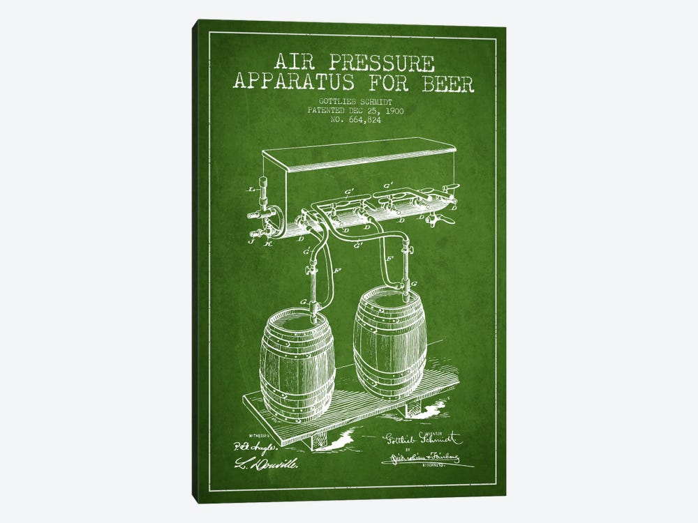 Beer Apparatus Green Patent Blueprint by Aged Pixel 1-piece Canvas Wall Art