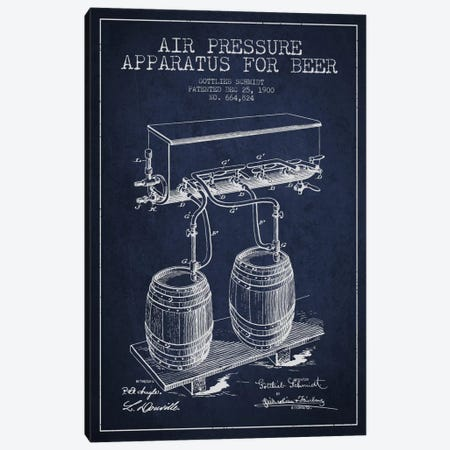 Beer Apparatus Navy Blue Patent Blueprint Canvas Print #ADP666} by Aged Pixel Canvas Wall Art