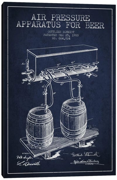 Beer Apparatus Navy Blue Patent Blueprint Canvas Art Print