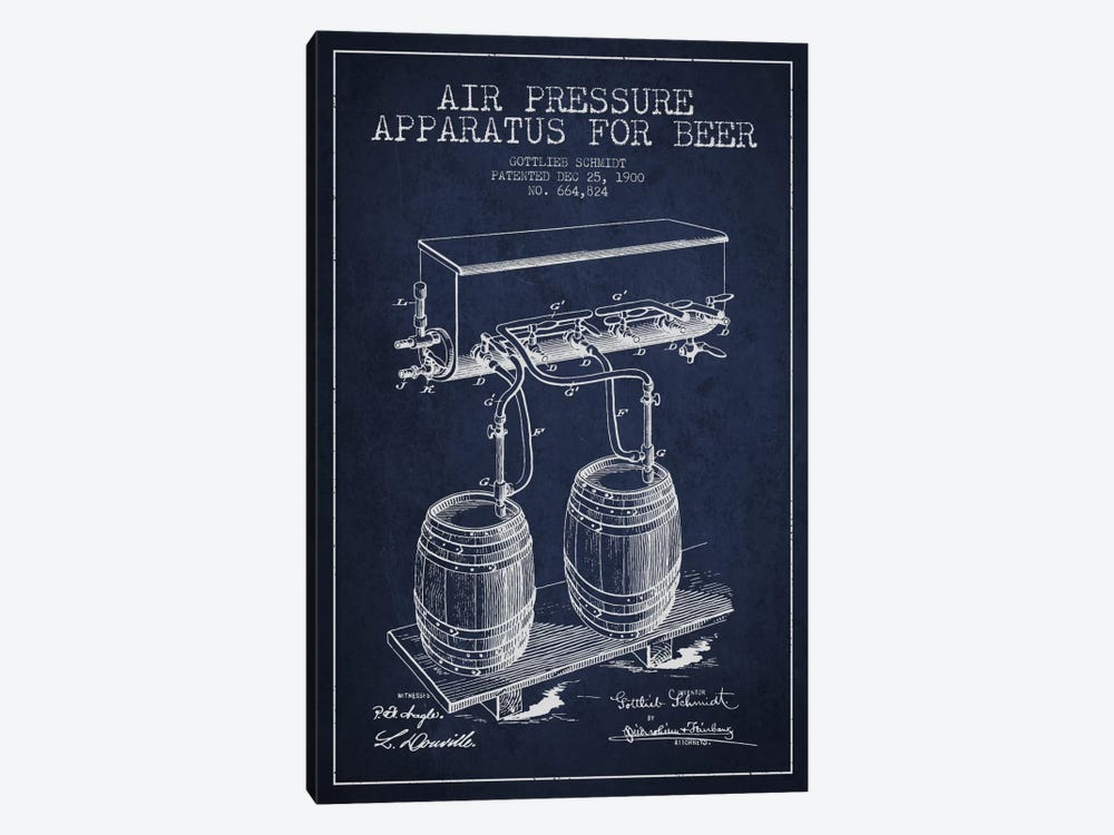 Beer Apparatus Navy Blue Patent Blueprint by Aged Pixel 1-piece Art Print