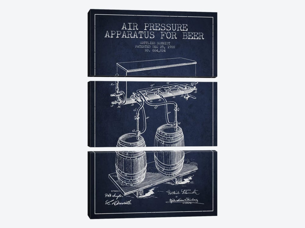 Beer Apparatus Navy Blue Patent Blueprint by Aged Pixel 3-piece Canvas Art Print